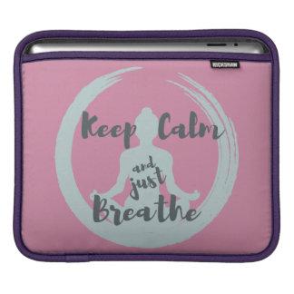Keep Calm and Just Breathe iPad pad Horizontal iPad Sleeves