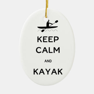 Keep Calm and Kayak Ceramic Ornament