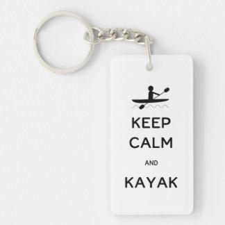 Keep Calm and Kayak Single-Sided Rectangular Acrylic Key Ring