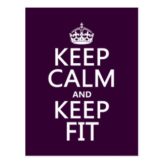 Keep Calm and Keep Fit (customize colors) Postcard