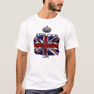 Keep Calm and Keto On, with Union Jack background T-Shirt
