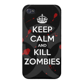 Keep Calm and kill zombie zombies wa iPhone 4 Covers