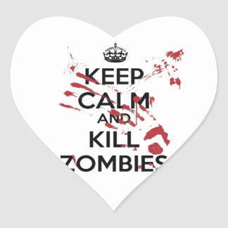 Keep Calm and Kill Zombies Heart Sticker