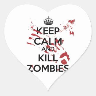 Keep Calm and Kill Zombies Adesivo Em Forma De Coração