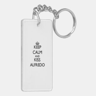 Keep Calm and Kiss Alfredo Rectangle Acrylic Keychain