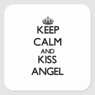Keep Calm and Kiss Angel Square Sticker