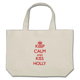 Keep Calm and Kiss Holly Canvas Bag