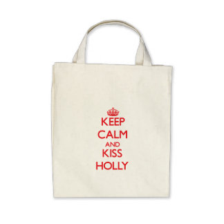 Keep Calm and Kiss Holly Tote Bags