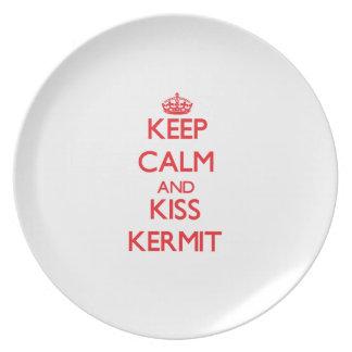Keep Calm and Kiss Kermit Dinner Plates