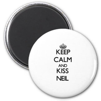 Keep Calm and Kiss Neil 6 Cm Round Magnet