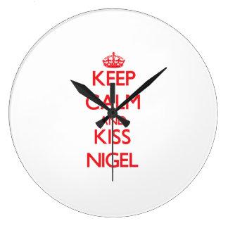 Keep Calm and Kiss Nigel Wallclock