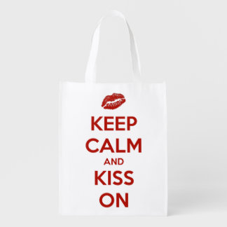 Keep Calm and Kiss On Red and White Personalized Grocery Bag