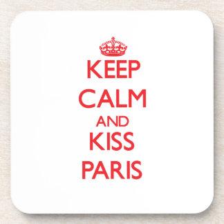 Keep Calm and kiss Paris Drink Coaster