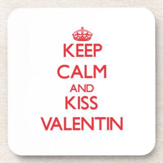 Keep Calm and Kiss Valentin Beverage Coasters