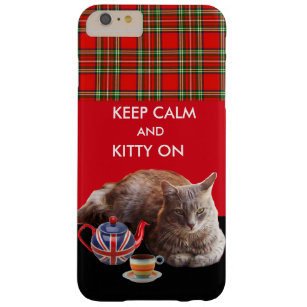 KEEP CALM AND KITTY ON ,RED TARTAN CAT TEA PARTY BARELY THERE iPhone 6 PLUS CASE