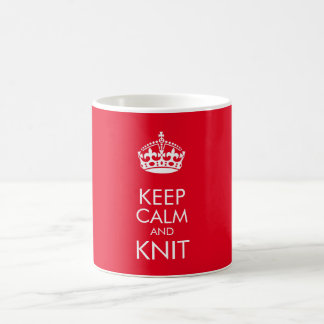 Keep calm and knit - customise text and colour basic white mug