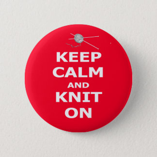 Keep calm and knit on 6 cm round badge