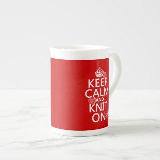 Keep Calm and Knit On - all colors Bone China Mug