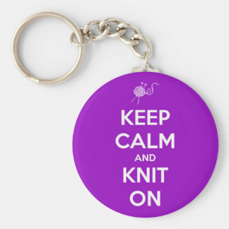 Keep Calm and Knit On Fuschia Key Ring