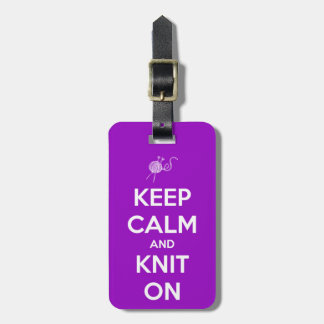 Keep Calm and Knit On Fuschia Luggage Tag