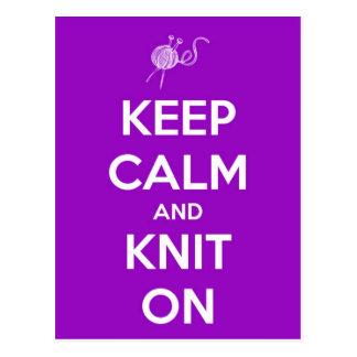 Keep Calm and Knit On Fuschia Postcard
