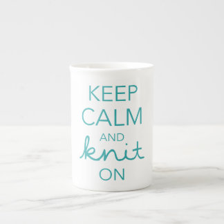 Keep Calm and Knit On Tea Cup