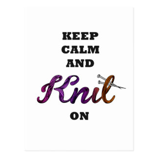 Keep Calm and Knit On Postcard