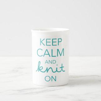 Keep Calm and Knit On Porcelain Mug