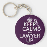 Keep Calm and Lawyer Up (any colour) Basic Round Button Key Ring