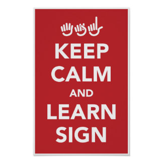 Keep calm and learn sign poster. poster