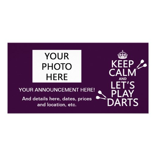 Keep Calm and Let's Play Darts Photo Cards