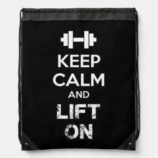 Keep Calm and Lift On - Workout Motivational Drawstring Bag