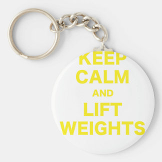 Keep Calm and Lift Weights Basic Round Button Key Ring