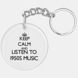 Keep calm and listen to 1950S MUSIC Acrylic Keychain