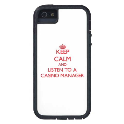 Keep Calm and Listen to a Casino Manager iPhone 5/5S Cases