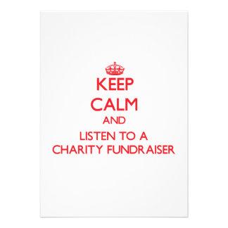 Keep Calm and Listen to a Charity Fundraiser Custom Invitations