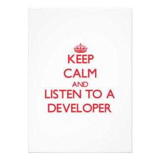 Keep Calm and Listen to a Developer Custom Invite