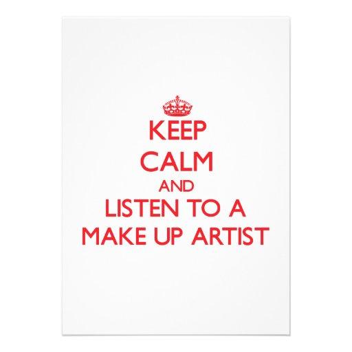 Keep Calm and Listen to a Make Up Artist Custom Invitation