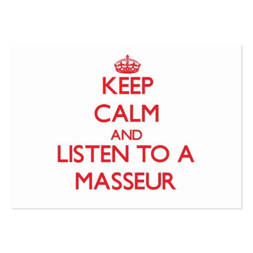 Keep Calm and Listen to a Masseur Business Card