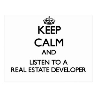 Keep Calm and Listen to a Real Estate Developer Postcard