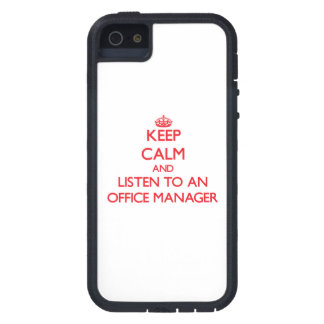 Keep Calm and Listen to an Office Manager iPhone 5 Case