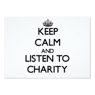 Keep Calm and listen to Charity Personalized Invite