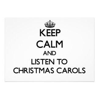 Keep calm and listen to CHRISTMAS CAROLS Custom Invites