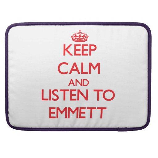 Keep Calm and Listen to Emmett MacBook Pro Sleeve