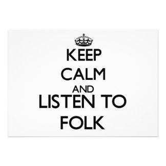 Keep calm and listen to FOLK Personalized Invitations