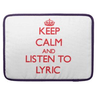 Keep Calm and listen to Lyric Sleeve For MacBooks