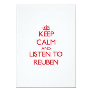 "Keep Calm and Listen to Reuben 5"" X 7"" Invitation Card"