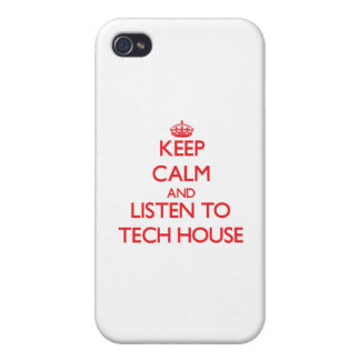 Keep calm and listen to TECH HOUSE Covers For iPhone 4