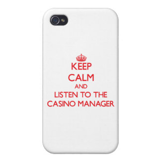 Keep Calm and Listen to the Casino Manager Covers For iPhone 4