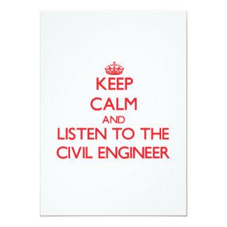 Keep Calm and Listen to the Civil Engineer 13 Cm X 18 Cm Invitation Card